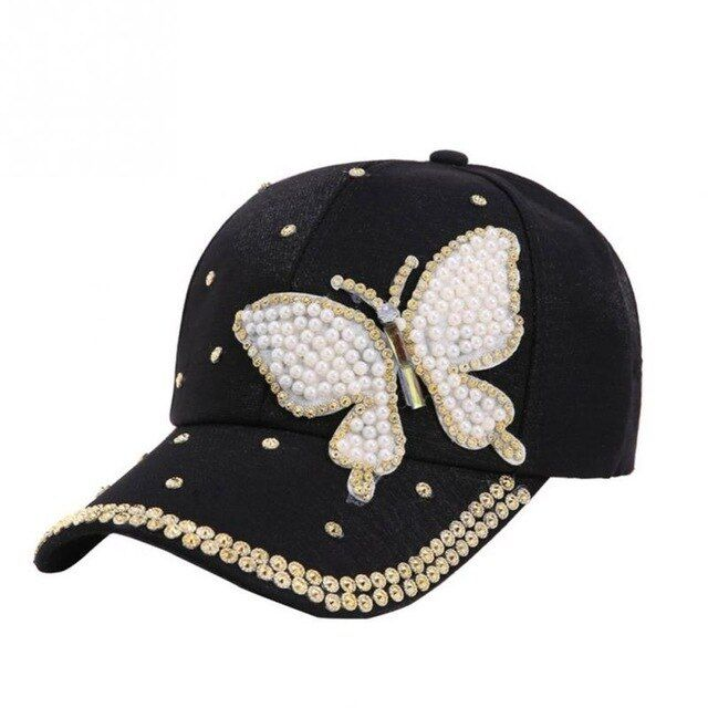 Trendy women youth butterfly pearl hiphop cool baseball cap summer flat snapback hat black white pink casquette – Products