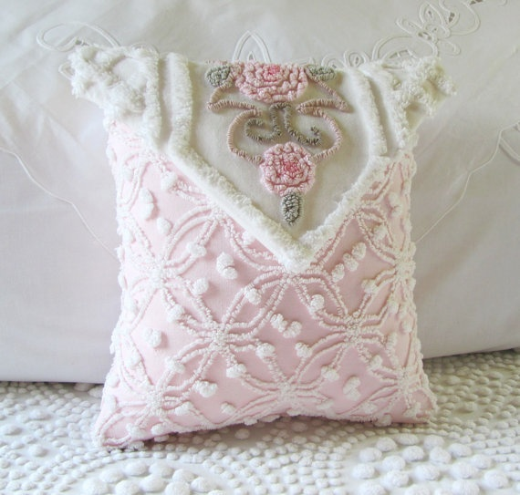 I am not a fan of cutting up vintage bedspreads, but this is lovely.