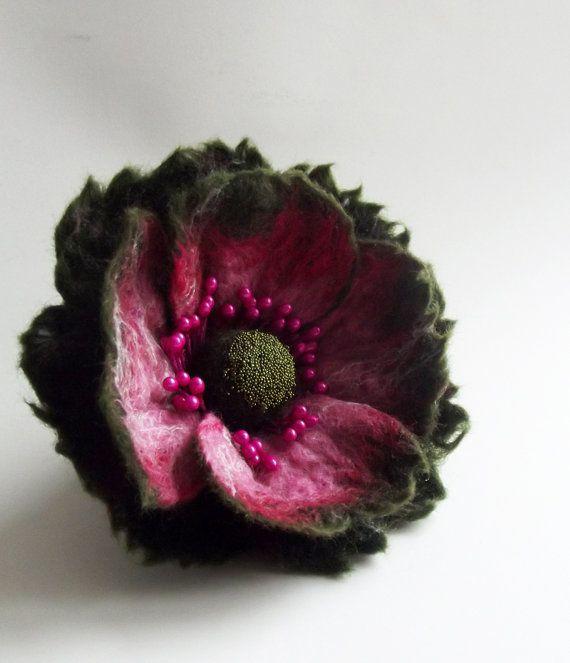 Felted Flower Pin Hair Clip Poppy Brooch Felted by FeltFatal, $20.00