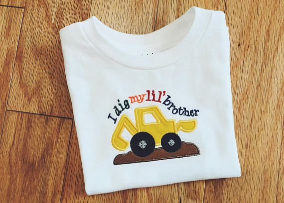 I Dig My Lil Brother T-shirt, Embroidered Big Brother Shirt, Boy's Digger Top, Big Brother Announcement Outfit, Toddler Shirt, Brother Gift