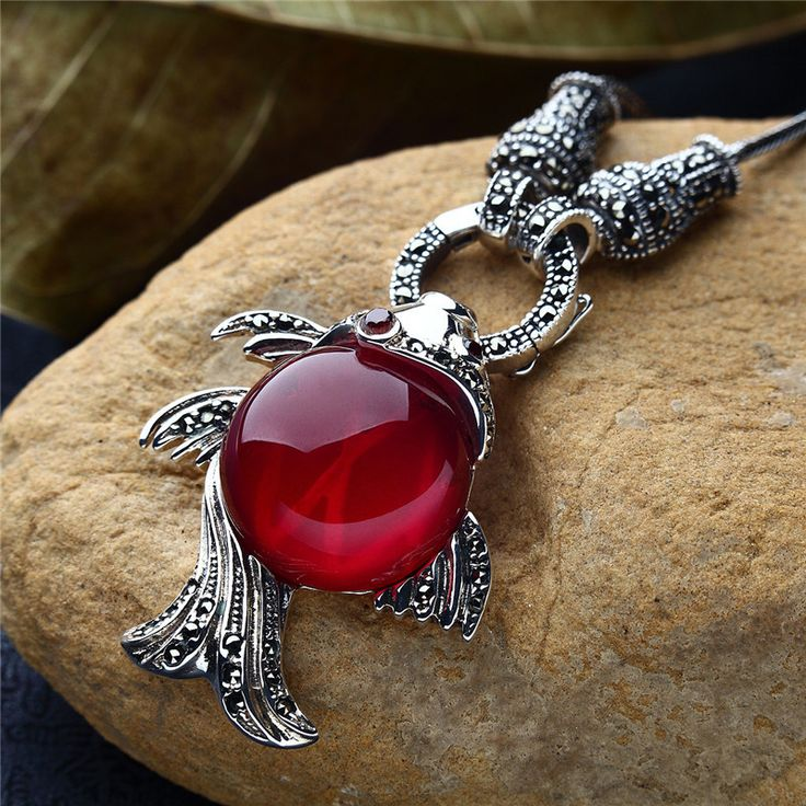 Long Baolong authentic 925 sterling silver jewelry fashionable red corundum Necklace Pendant New special lady fish #Affiliate