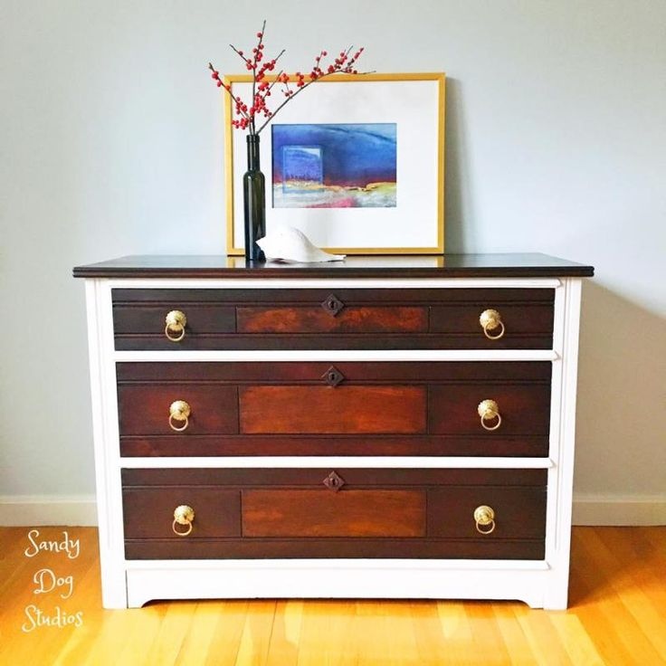 What a transformation this antique wood dresser by Sandy Dog Studios is! This refinished piece was completed with General Finishes Java Gel Stain.