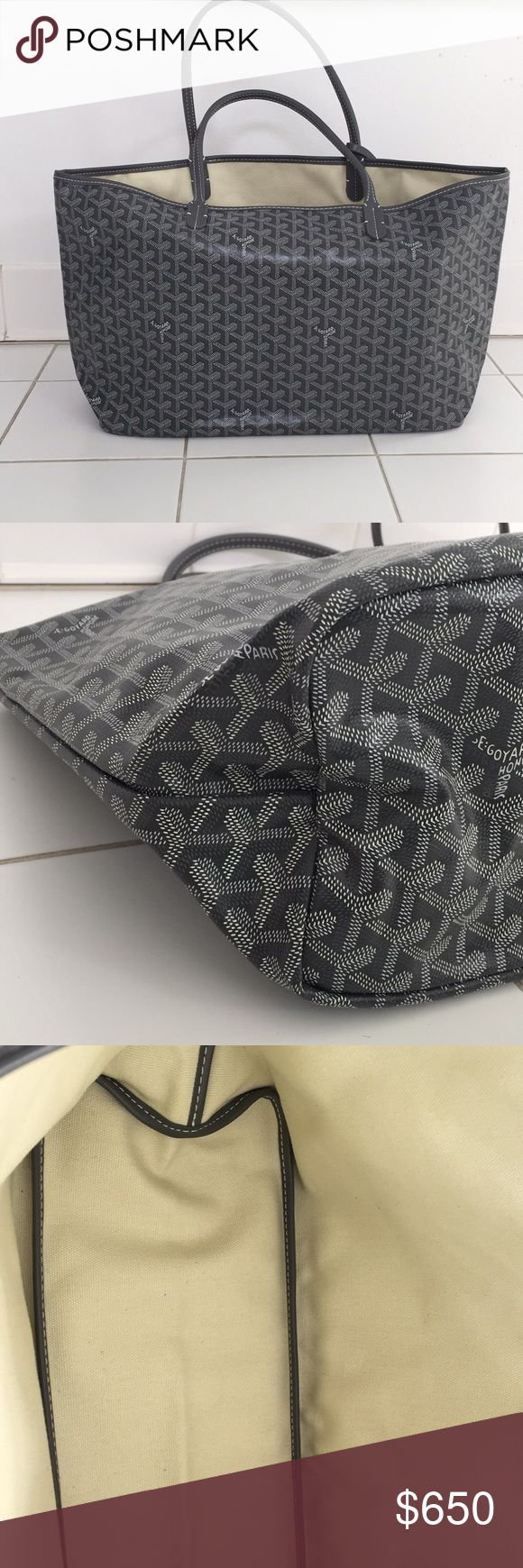 Goyard St Louis Tote Goyard tote- grey. Hardly used. Excellent condition. No tears, rips or stains!! I don't have any tags or dust bag. Price is reflective of missing piece. Goyard Bags Totes
