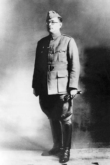 Chandra Bose in Japanese pattern uniform. He had men serving with Nazis Germany and Imperial Japan most were recruited from prisoners of war.