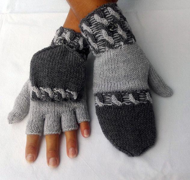 Handschuhe - Handschuhe mit Zopfmuster und Kappe Gr. M - ein Designerstück von handKleid bei DaWanda