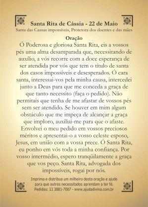 Santinhos Impressos Oração Santa Rita de Cássia - MARCELOKBRAL   TodaOferta