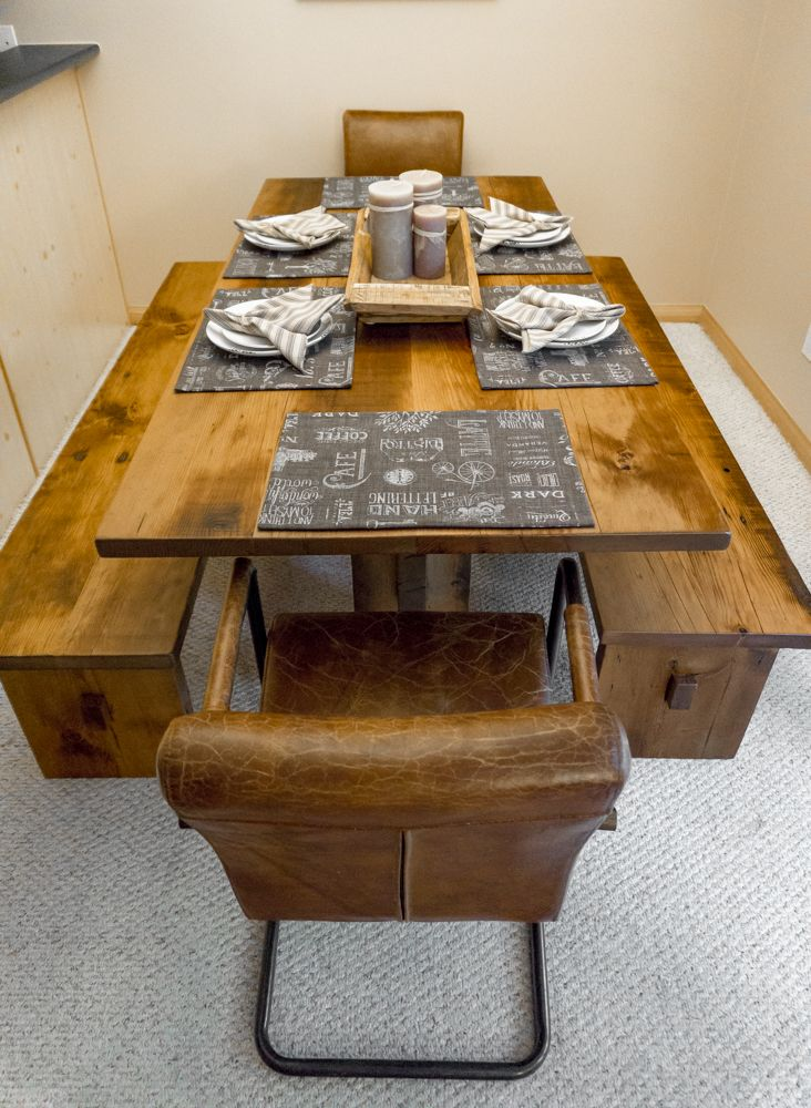 """Our """"Trestle"""" table in all it's glory! Custom made of reclaimed fir, pine or maple to suit the needs of any space. Matching benches as well!"""
