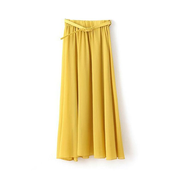 Yellow Stylish Chiffon Maxi Skirt ($14) ❤ liked on Polyvore featuring skirts, yellow, long maxi skirts, floor length skirt, elastic waist skirt, ankle length skirt and chiffon maxi skirt