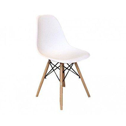 Chaise Cosy Blanche pieds en bois - Lot de 2