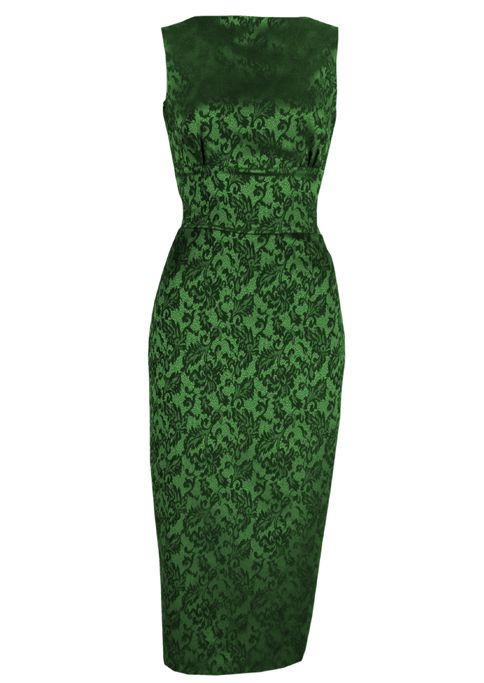1960s Betty Dress - emerald brocade - Fashion 1930s, 1940s & 1950s style - vintage reproduction