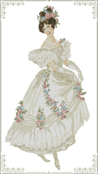 Victorian French 1800 Ball Gown Cross Stitch PDF Chart