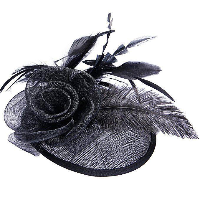 acdfd3e11e742 Valdler Halloween Dress Up Womens Feather Mesh Net Sinamay ...