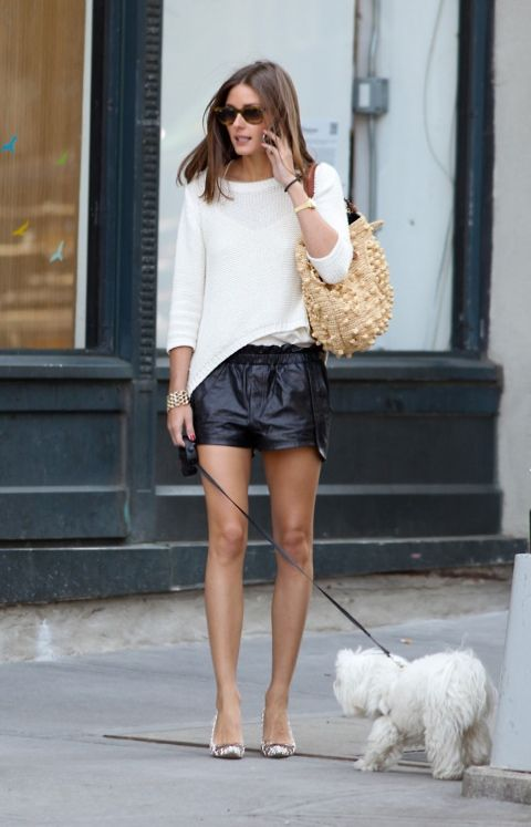 Leather shorts with white blouse