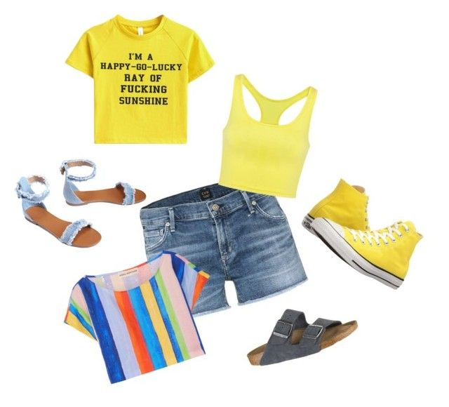 Sunshine Trio by rhonda-hemling on Polyvore featuring Mara Hoffman, Citizens of Humanity, Converse and Birkenstock