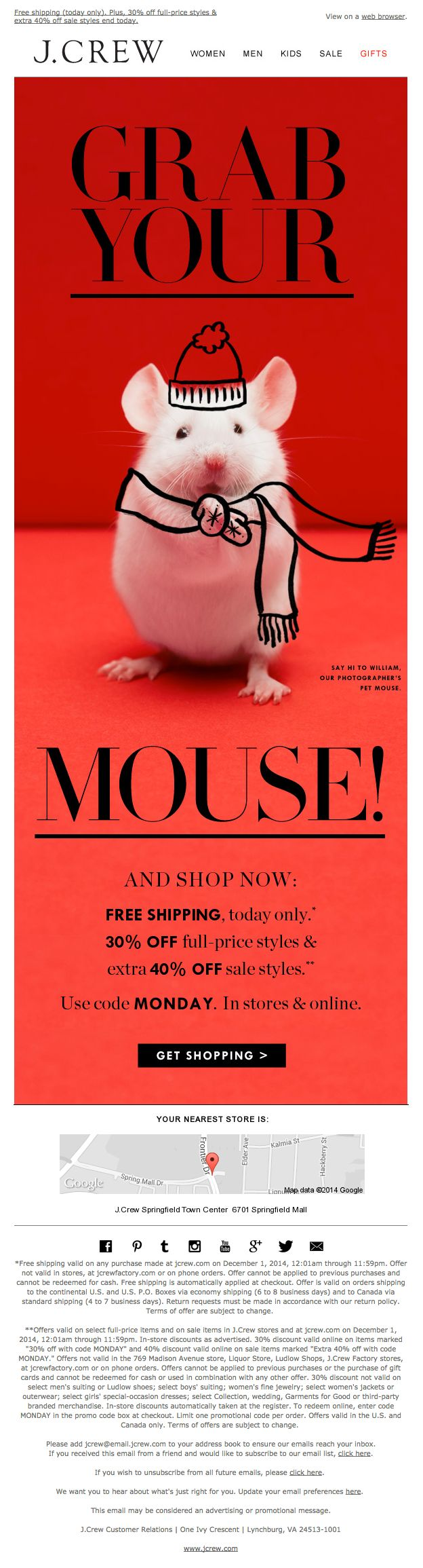 """J.Crew Cyber Monday email - Dec. 1, 2014 - """"The biggest, best, most amazing, OMG, beyond anything, ever, sale event. Starts now."""""""
