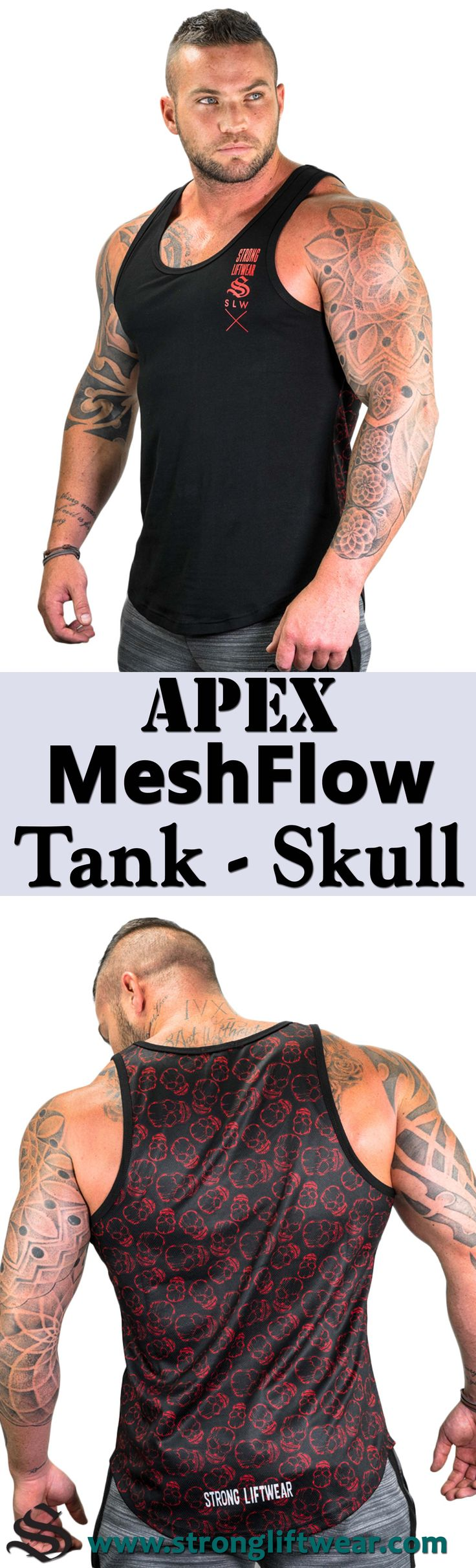 Introducing the MeshFlow Tank! A modern masterpiece of singlet design. Tapered, waist slimming, shoulder enhancing and made with a fully breathable mesh back and light cotton composite front. │gym wear │fitness wear │fitness clothing │fitness │outfits │workout dress │gym outfits │workout outfits │shorts #gymwear #fitnesswear #fitnessclothing #fitness #outfits #workoutdress #gymoutfits #workoutoutfits #shorts