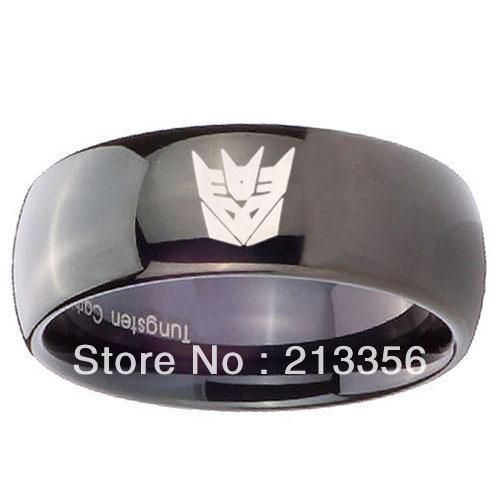 FREE SHIPPING ! USA HOT SELLING E&C TUNGSTEN JEWELRY 8MM MENS New GOLD/BLACK/SILVER DOME DECEPTICON TUNGSTEN RINGS WEDDING BAND
