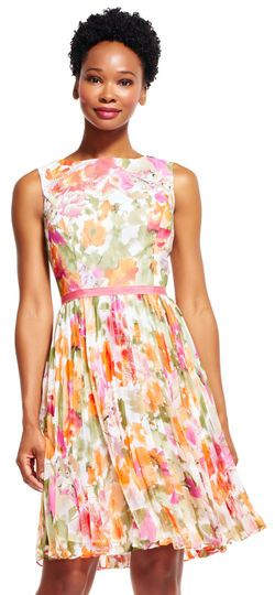 Adrianna Papell   Watercolor Floral Chiffon Fit and Flare Dress