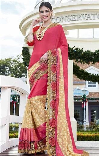 Beautiful Red Silk Jacket With Peach N Beige Georgette N Net Saree   #TrendyPartyWearSarees #DesignerPartyWearSarees #TrendySarees #DesignerPartySareeBlouseDesigns #StylishSareesLatestPartySarees2017 #StylishSarees #PartySareeBlouseDesigns #StylishPartySareeBlouseDesigns #PartyWearSarees #WomensPartySarees2017 #LatestPartySarees2017 #PartySareeBlouse #designerpartysarees2017 #partysarees #womensSarees #WomensSareeBlouseDesigns #WomensSareeBlouse #SareeBlouseDesigns