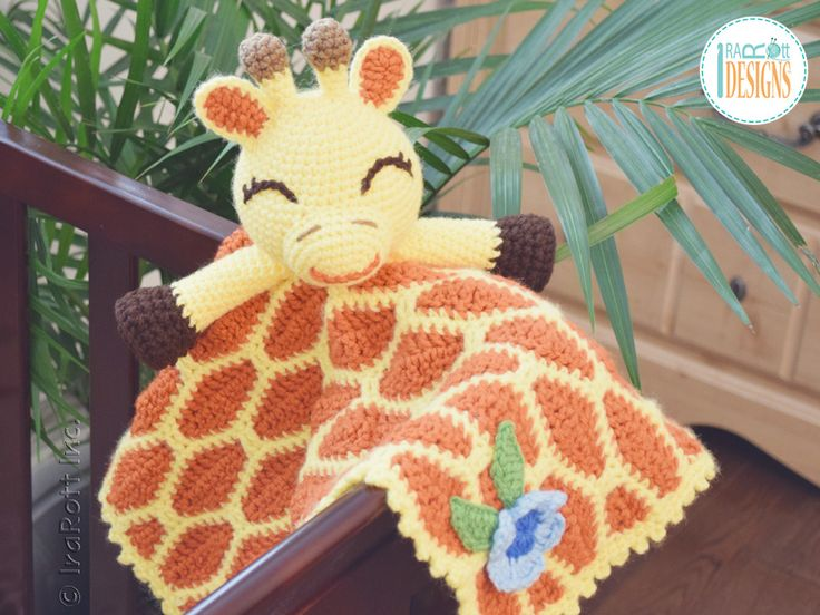 Crochet pattern PDF by IraRott for making an adorable giraffe security blanket