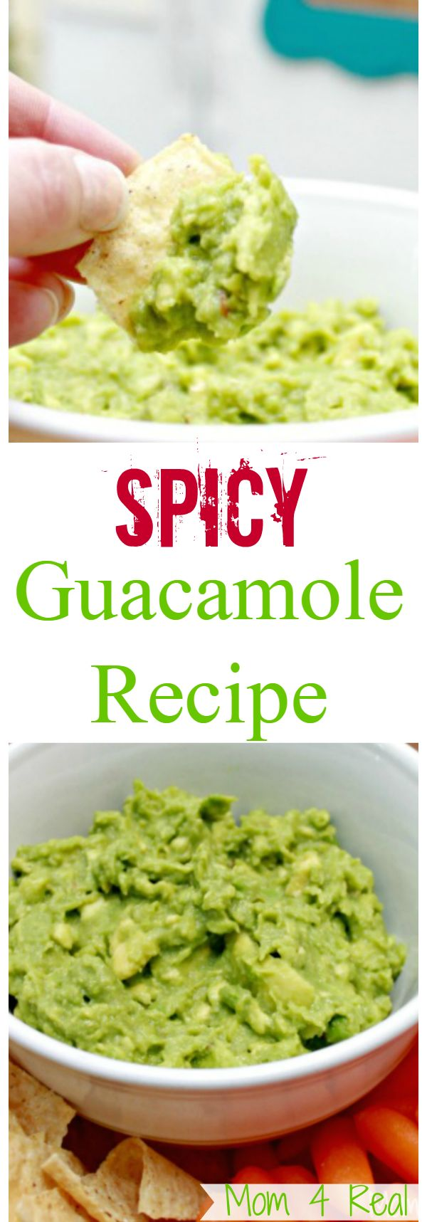 Super Fresh Spicy Guacamole Recipe - More Recipes and Appetizer Ideas at Mom 4 Real