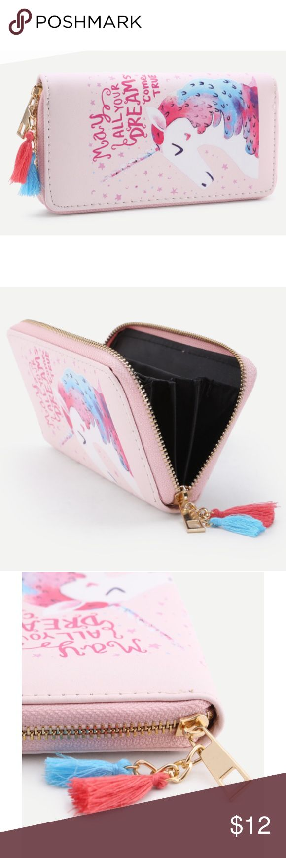 "Unicorn oversized wallet Adorableeee oversized wallet with unicorn design and ""may all your dreams come true"" text... multiple pockets for all your stuff, zipper closure and stringy pompom detailing. Let this be your good luck charm good luck charm ! Bags Wallets"
