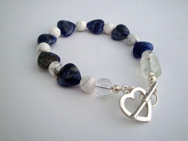 Sodalite Hearts Bracelet from Cocopopia
