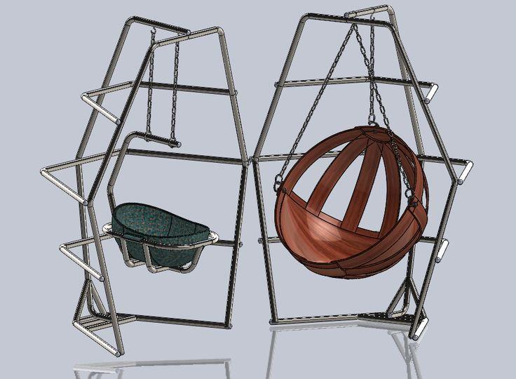 Portique multifonctions 2 par tarek. Points pris en considération: - Section tubulaire - Matière: Acier inoxydable AISI 304L - faisabilité: facile à réaliser, nécessite de simples opérations, cintrage, soudage (TIG) ...., le fauteuil en bois (des planches d'epaisseur constant ajustés et simplement assemblés. CAO, CAD, 3D, Design, Lynkoa