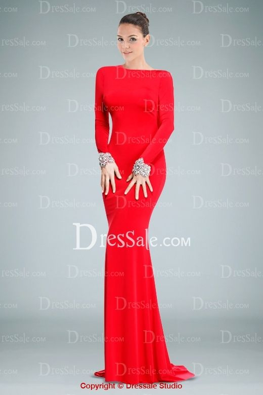 ee7df39c28 Graceful Red Long Sleeves Sheath Evening Dress with Cowl Back Accents