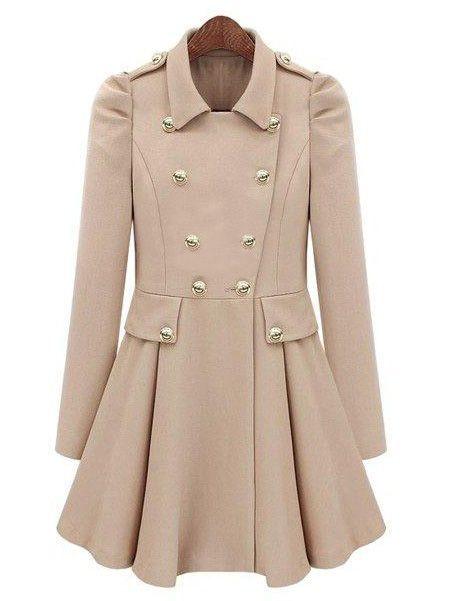 Beige Pleated Long Sleeve Buttons Ruffles Coat