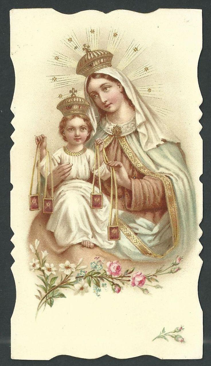 Estampa antigua de la Virgen del Carmen andachtsbild santino holy card santini | eBay