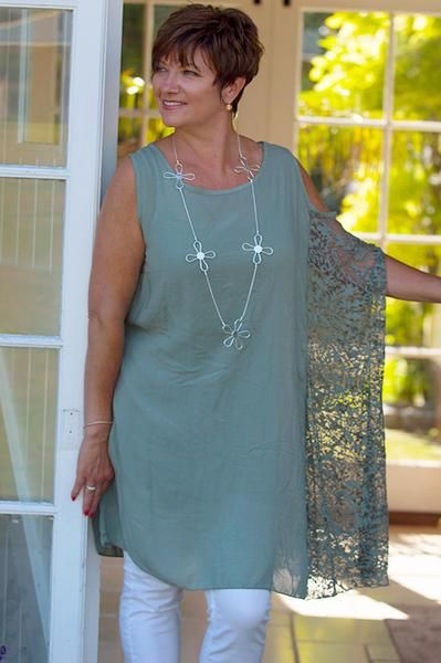 Khaki Off The Shoulder Top With Burn Out Side Design - Mandy's Heaven   - 1