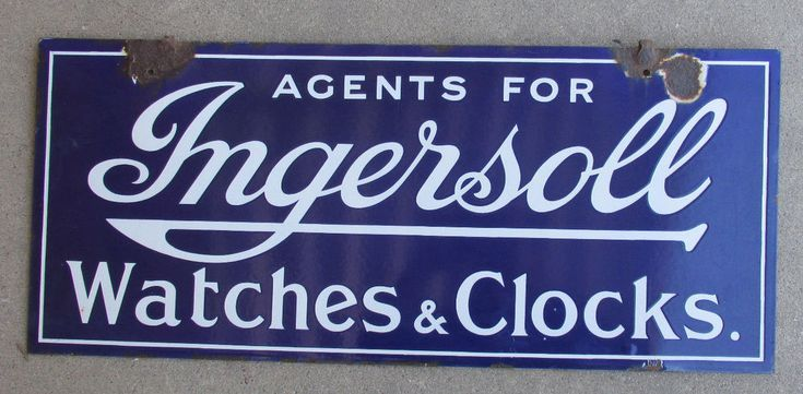 "Ingersoll Watches and Clocks Double-Sided Porcelain Trade Sign Orignal 28""x12"" #ingersoll"