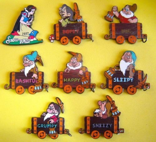 Snow white and the 7 dwarfs mine cart pins