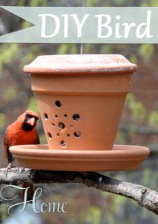 DIY Bird Feeder from Terra Cotta Pot & Saucers!