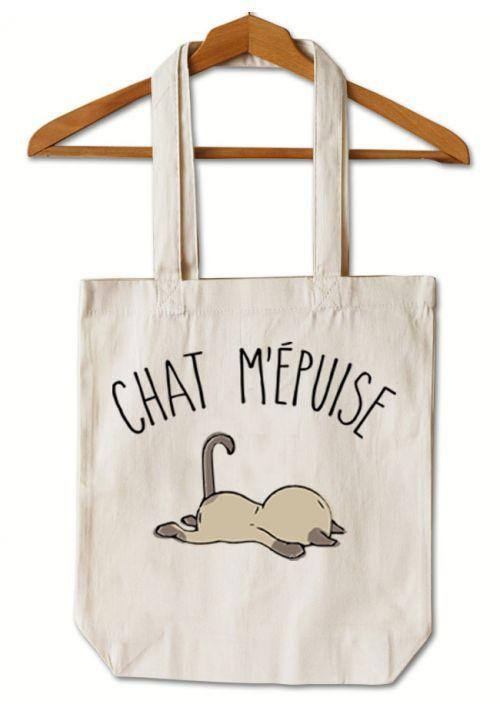 "Tote Bag ""Chat m'épuise"""