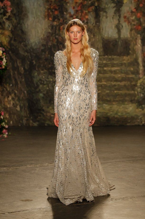Sparkly glamour straight off the bridal runway | Gown by Jenny Packham