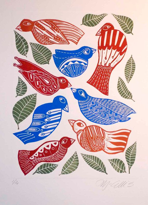 linocut birds cobalt blue bright red blue and red by linocutheaven, $45.00