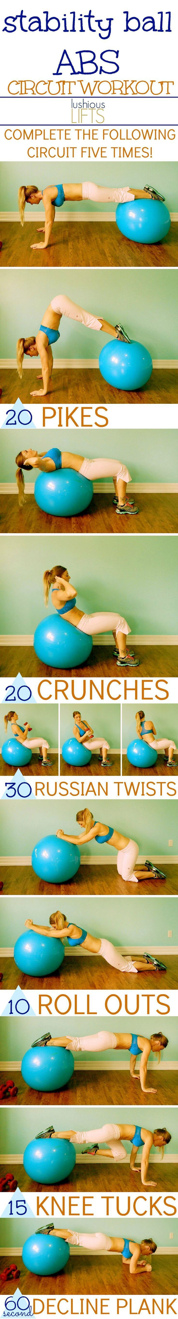 Stability Ball Abdominal Circuit Workout http://lushiouslifts.com/stability-ball-abs-circuit/ #Fitness #Workout Pin/Via -