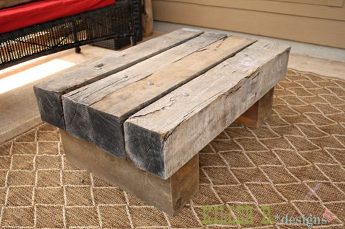 Bench from railway ties