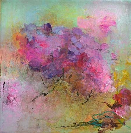 Hydrangea Original Abstract Painting on stretched Canvas,. $119.00, via Etsy.