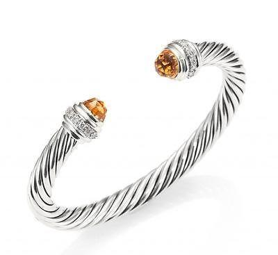 David Yurman $1900 Silver Bracelet with Citrine and Diamonds 7mm, NEW, Sz M - http://designerjewelrygalleria.com/david-yurman/david-yurman-1900-silver-bracelet-with-citrine-and-diamonds-7mm-new-sz-m/