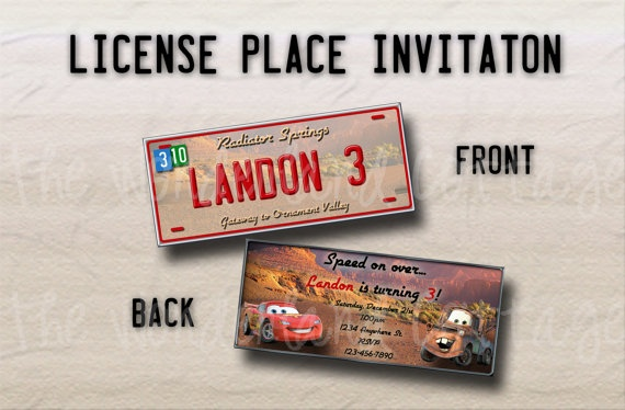 Disney Cars License Plate Birthday Party by TheWonderlandCottage, $8.00