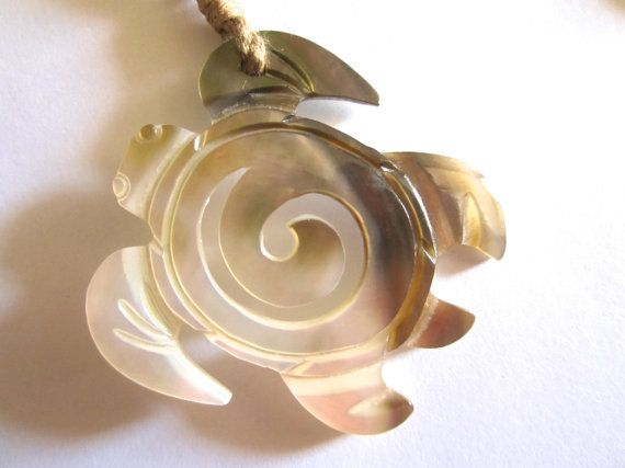 Hand Carved Shell Turtle with Wave on Adjustable Natural Cotton Cord