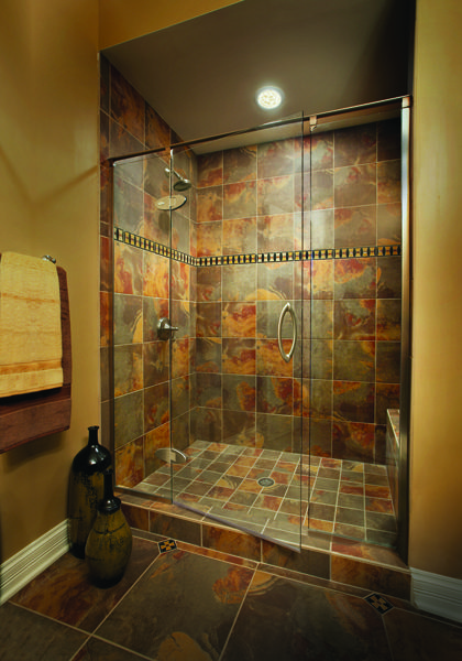 Preceria Panel/Door/Panel Shower Enclosure, Featuring Clear Glass And  Brushed Nickel Finish