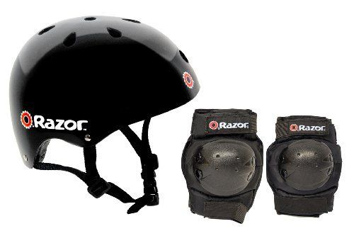 A great package for BMX biking, skateboarding, inline skating, or any other sport that requires protective headgear, this Razor Skater Multi-Sport combo set includes a helmet, two knee pads, and two elbow pads. The 17 vents keep your head cool at all times and the side release buckles make it a...