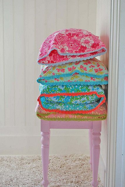 crochet-edged pillowcases