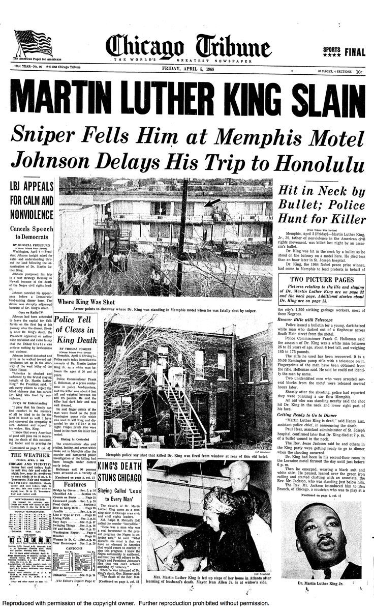 martin luther king jr assassination newspaper | Who Assassinated Martin Luther King