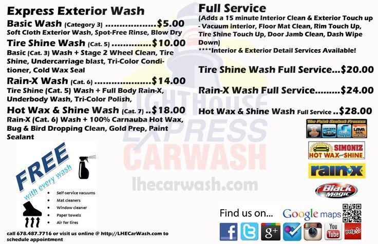Lighthouse Express Car Wash Services menu