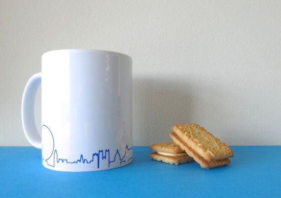 London Skyline Mug in blue gift for dad international by SkylineUK